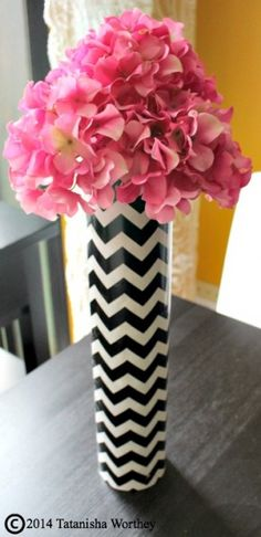 Using Wrapping paper to create a new look for an old vase
