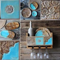 Idea to combine clay wood and pewter m vk com teal aqua ocean blue turquoise homedecor Hand Built Pottery, Slab Pottery, Ceramic Pottery, Pottery Art, Clay Projects, Clay Crafts, Diy And Crafts, Decorative Wall Tiles, Outdoor Wall Art