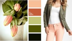 Combination with peach color Peach Colour Combinations, Color Combinations For Clothes, Fashion Colours, Colorful Fashion, Peach Clothes, Colourful Outfits, Green Outfits, Color Pairing, Fashion Capsule