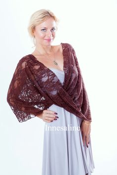Infinity lace shawl  in brown color, shawl, bolero vest, hooded scarf