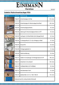 Einemann Assembly Tables Price List, Page 9