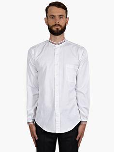 Thom Browne Men's White Cotton Striped Trim Shirt | oki-ni
