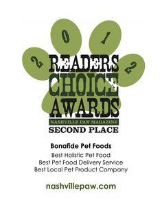 2012 Nashville Paws Readers Choice Awards www.bonafidepetfoods.com  #bonafide