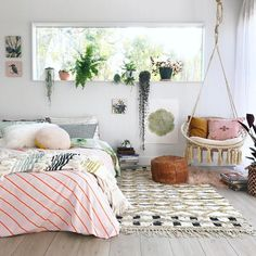 57 Modern Small Bedroom Design Ideas For Home. It used to be very difficult to get a decent small bedroom design but the times have changed and with the way in which modern furniture and room design i. Cosy Bedroom, Scandinavian Bedroom, Small Room Bedroom, Girls Bedroom, Master Bedrooms, Modern Bedroom, Trendy Bedroom, Pink Grey Bedrooms, Swing In Bedroom