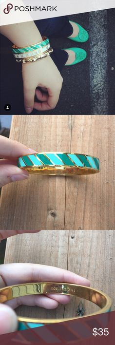 Kate Spade Toe the Line Idiom Bangle A wide bangle in a bright color hides a clever etching on the inside. 12k-gold plate/enamel. kate spade Jewelry Bracelets