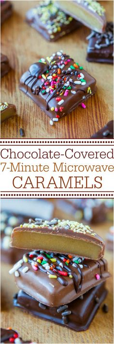 Chocolate-Covered Microwave Caramels - Never fear candy-making again with this no-candy-thermometer, goofproof recipe! The best and easiest caramels ever! Great for holidays and gifts! (Almond Joy No Baking Cookies) Just Desserts, Delicious Desserts, Yummy Food, Health Desserts, Candy Recipes, Dessert Recipes, Yummy Treats, Sweet Treats, Microwave Caramels