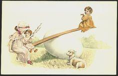 Easter Postcard Early Children Seesaw on Huge Egg Lamb Vintage Postcard