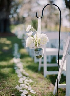 mason jar isle adornments with petal runner for your outdoor wedding ceremony #wedding #flowers