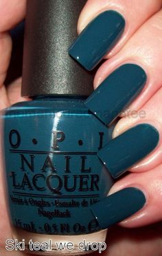 one of my favorite fall nail polishes. Ski teal we drop one of my favorite fall nail polishes. Ski teal we drop The post one of my favorite fall nail polishes. Ski teal we drop & Paznokcie appeared first on Fall nails . New Nail Colors, Nail Color Trends, Winter Nail Colors, Winter Nails, Opi Colors, Autumn Nails, Summer Nails, Fall Nail Polish, Gel Polish