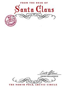 13 Best Images Of Free Printable Santa Letter Stationary - Santa with Free Printable Letters From Santa Claus Templates