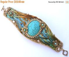 15% OFF Turquoise Bronze Beaded Bracelet, Bead Embroidery Cuff Shibori Silk Ribbon, Shibori Bracelet Cuff, Gift for Her, Made to Order