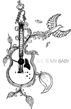 Tattoo image: bird & guitar with heart
