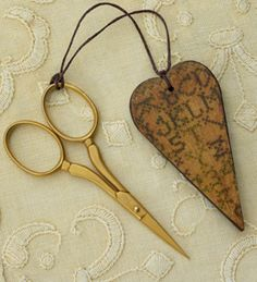 Sampler heart scissor fob by Homespun Elegance. Oh, so pretty. Needle Book, Needle And Thread, Best Scissors, Sewing Tools, Sewing Kit, Sewing Scissors, Vintage Sewing Notions, Drawn Thread, Cross Stitch Finishing