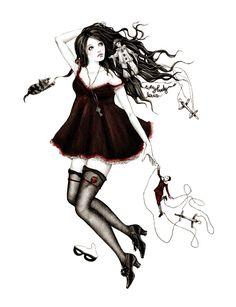by Alena Demicheva [burgundy dress] [puppets]