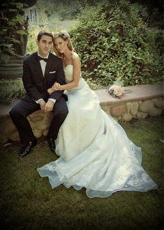 Romantic Lace Wedding Dress Strapless with Sash