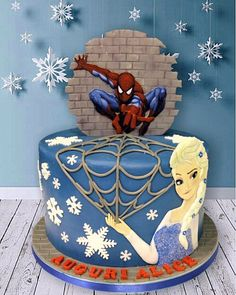 Elsa and Spiderman cake! Spiderman Birthday Cake, Twin Birthday Cakes, Frozen Birthday Party, 3rd Birthday, Birthday Ideas, Combined Birthday Parties, Spiderman And Frozen, Elsa Cakes, Twins Cake
