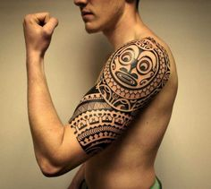 shoulder polynesian tattoo sleeve