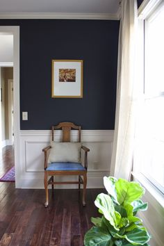 Dining Room With Deep Navy Blue Walls, 58 Water Street, Sherwin Williams  Inkwell