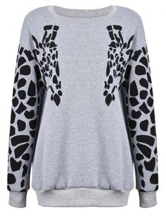 Because Giraffes are cute Grey Round Neck Symmetrical Zebra Print Sweatshirt - Sheinside.com Mobile Site