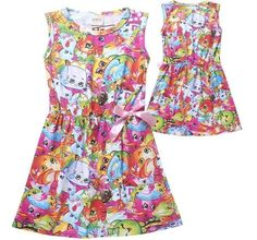 Colorful Kids Girls Party Dress Sleeveless Cute Cartoon Shopkins Summer Skirts