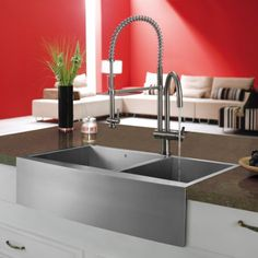 Found it at Wayfair - Single Handle Single Hole Pot Filler Kitchen Faucet with Pull-Down Spray Apron Front Kitchen Sink, Kitchen Sink Design, Pull Out Kitchen Faucet, Apron Sink, Kitchen Sink Faucets, Kitchen Handles, Kitchen Designs, Stainless Steel Farmhouse Sink, Farmhouse Sink Kitchen