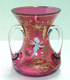 19th Cent Bohemian Glass Cranberry Enamel 3 Handle Loving Cup