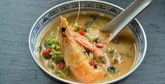 Καυτερή Σούπα με Γαρίδες, Κάρυ και Κρέμα Καρύδας Asian Cooking, Greek Recipes, Chinese Food, Thai Red Curry, Shrimp, Seafood, Cooking Recipes, Fish, Meat