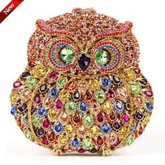 201.45$  Watch now - http://alip3e.worldwells.pw/go.php?t=32393672561 - Hot Handmade unique owl bag diamond multicolored crystal rhinestones clutch Party Minaudiere of owl evening bags wedding gift 201.45$