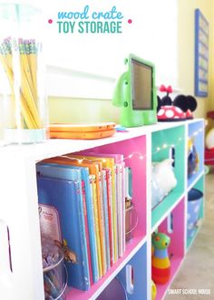 Play Room Decorating Ideas: Wood Crate Toy Storage