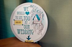interesting idea for an invitation. Wedding info is on inner circle and u spin the wheel to the various spots for the info