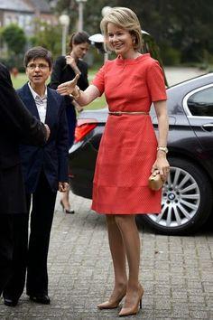 Queen Mathilde of Belgium during a visit to the 'Borgerstein' association in Sint-Katelijne-Waver, 10.09.2014