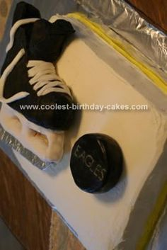 Homemade Hockey Skate Cake: The cake is 11 x 15 Wilton cake pan.  It uses 2 store bought cake mixes.  The cake is iced with Wilton's buttercream icing and layered with icing as well.