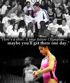 "Love this! At a competition in 2008, M.C. John Macready found a 14 year old Aly Raisman in the crowd. Without knowing Aly or her intentions, he gave her an Olympic shirt and said, ""Maybe you'll get there one day."" How incredible :)"