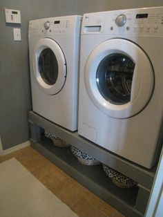 Love this idea from @TheBlueChair. Raises the washer and dryer and gives you storage.
