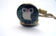 Owl Watch Necklace Watch Locket Necklace Owl by daisysgemgarden