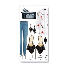 """Mules, Kisses and Frills"" by pursueinspire ❤ liked on Polyvore featuring Oscar de la Renta, Philipp Plein, SugarLuxeShop and CLUSE"