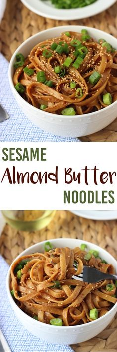 Sesame Almond Butter Noodles - a quick and satisfying weeknight meal! mysequinedlife.com