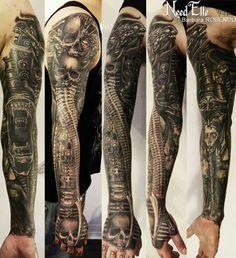 HR Giger sleeve tattoo
