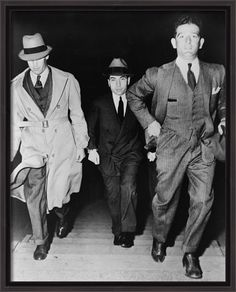 Crime family name: Luciano. Lucky Luciano Escorted To Court Reprint Of Old Photo Gangster Style, Real Gangster, Mafia Gangster, Meyer Lansky, 1920s Gangsters, Detective, Mafia Crime, Mafia Families, Al Capone