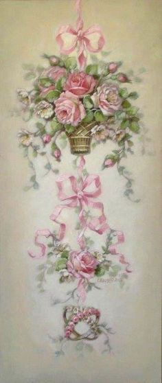 Christie Repasy Sweet Romance Canvas Giclee in Pink Decoupage Vintage, Art Floral, Vintage Rosen, Rose Cottage, Shabby Cottage, Shabby Bedroom, Cottage Style, Romantic Roses, Rose Art