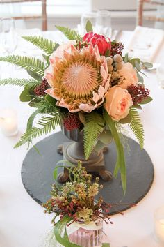 'King Proteas' for Debbie & Liam King's November Wedding Day at Ashfield House November Wedding, Floral Design, Wedding Day, King, Table Decorations, Weddings, Flowers, House, Beautiful