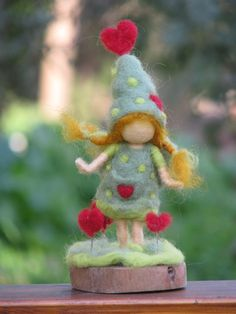 Sweet felted pixie.~I'm going to start making cute little things like this...