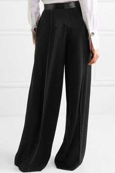 Elizabeth and James - Yuli Satin-trimmed Crepe Wide-leg Pants - Black