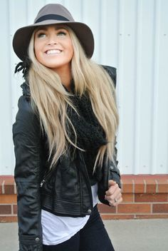 Love Biker jacket, jeans, infinity scarf, fedora, white t-shirt... she knows what she's doin')