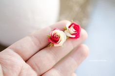 Handmade stud earrings with two-color roses  Red pink and Milk-white  Made of polymer clay   Not fragile    Rose size about 1.5cm (5/8 inch)  925 sterling silver metal