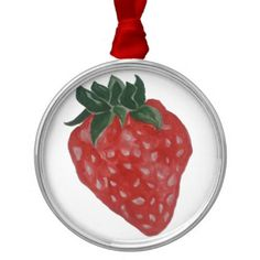 Strawberry Metal Ornament - home gifts ideas decor special unique custom individual customized individualized