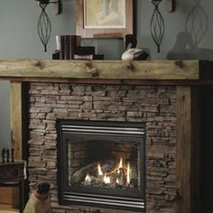 Rustic Mantle Top Fireplace Vented Gas Direct Vent