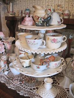Cake plates and tea cups