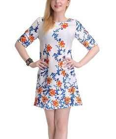 Look what I found on #zulily! Blue & Yellow Abstract Floral Silk Shift Dress #zulilyfinds