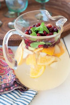 CHRISTMAS SANGRIA – 2 Bottles Crisp White Wine. 1 bottle Sparkling Apple Cider. 1 Orange. 1 apple,sliced. 1c. Fresh Cranberries. Fresh mint leaves. Mix & enjoy! @ Health Meal Ideas